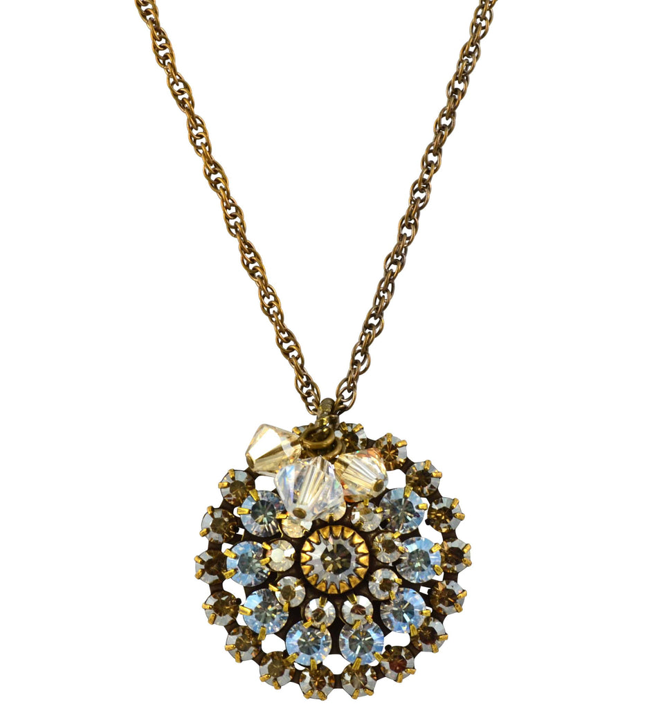 Liz Palacios Antique Gold Plated Swarovski Crystal Flower Necklace, 20+2