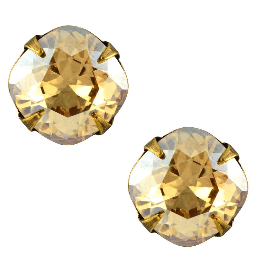 Liz Palacios Antique Gold Plated Swarovski Crystal Round Stud Earrings