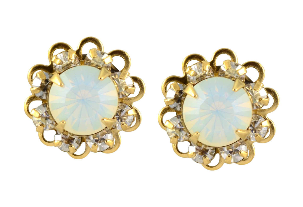 Liz Palacios Gold Plated Swarovski Crystal Flower Stud Earrings