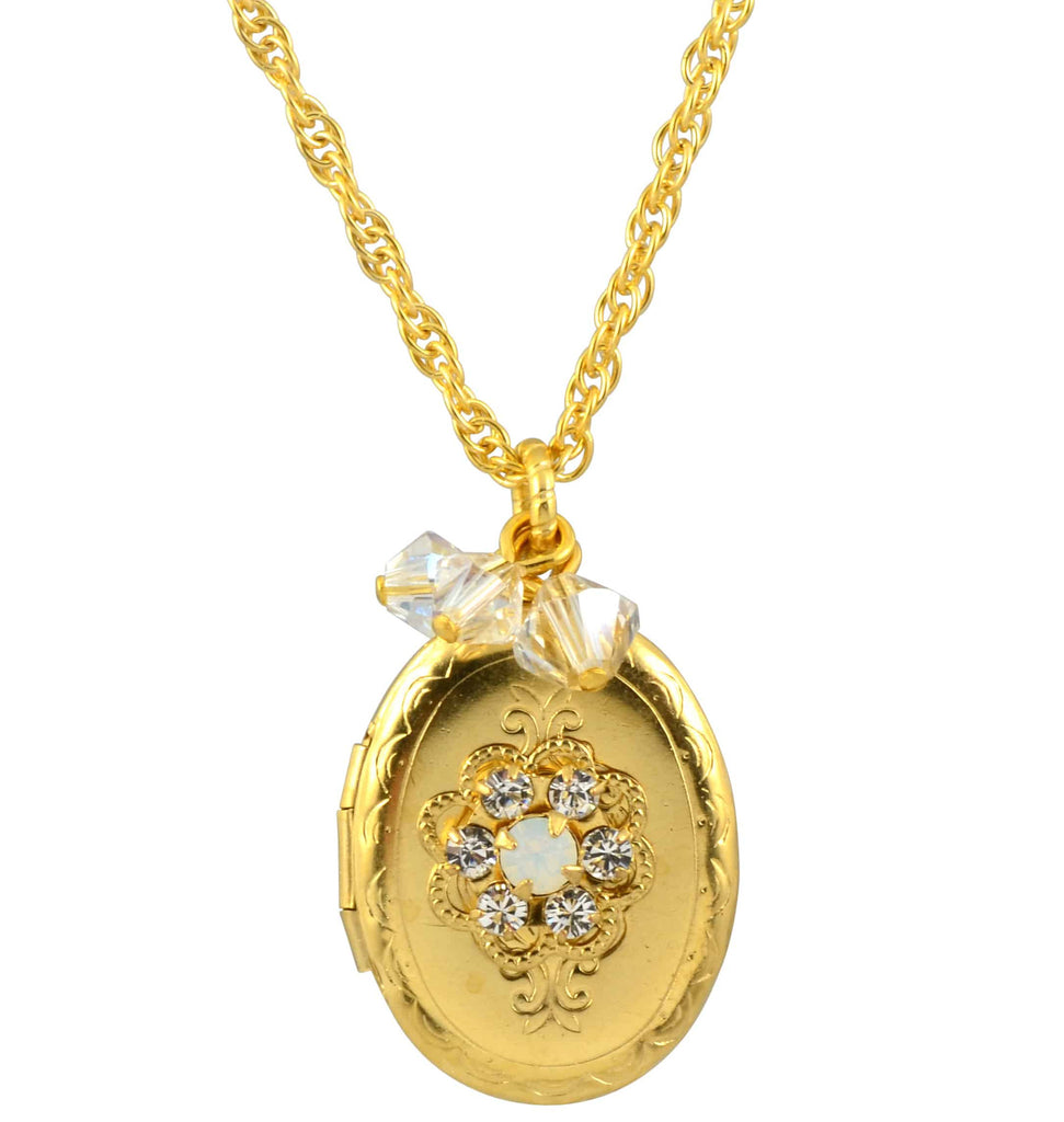 Liz palacios gold plated swarovski crystal locket necklace 162 mozeypictures Image collections
