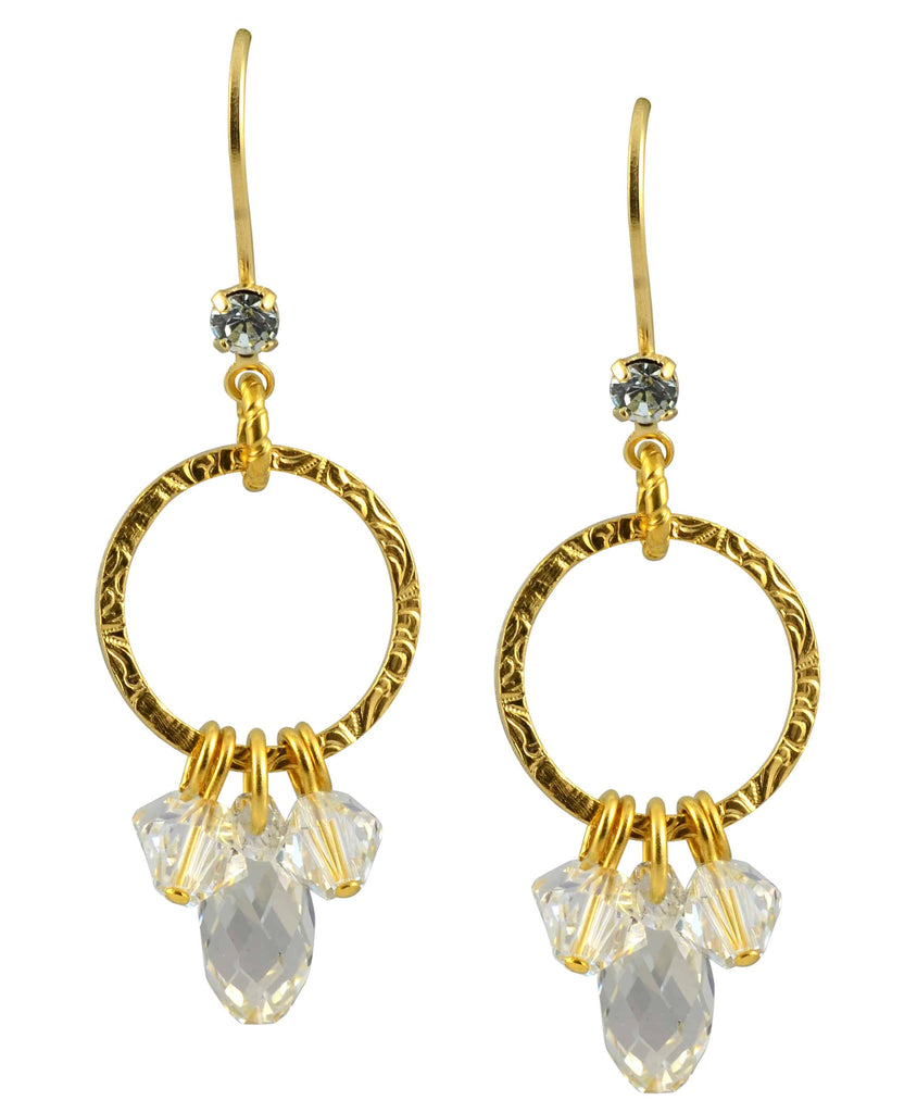 Liz Palacios Gold Plated Swarovski Crystal Round Hanging Dangle Earrings