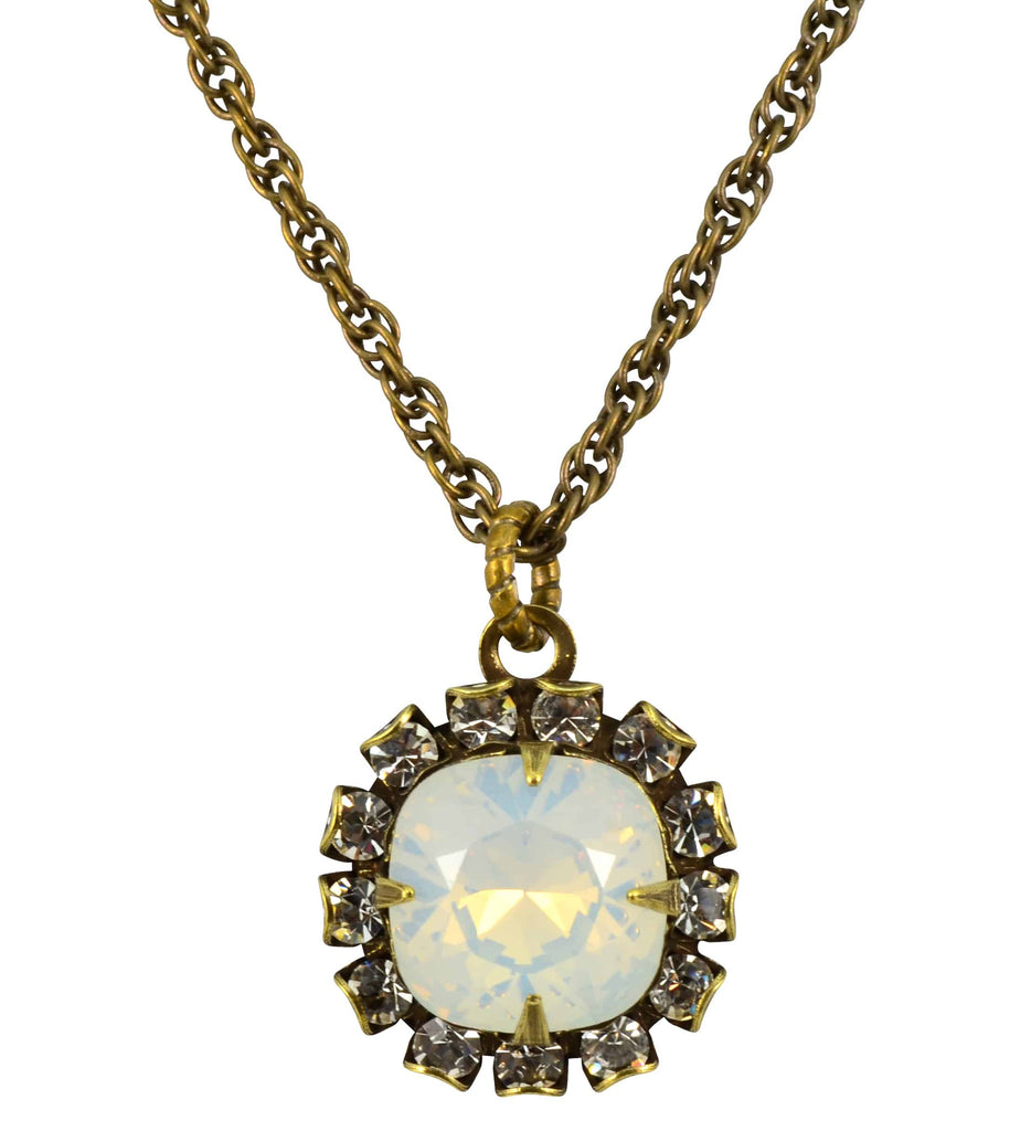 Liz Palacios Gold Plated Rounded Square Necklace in Moonlight Swarovski Elements Crystal