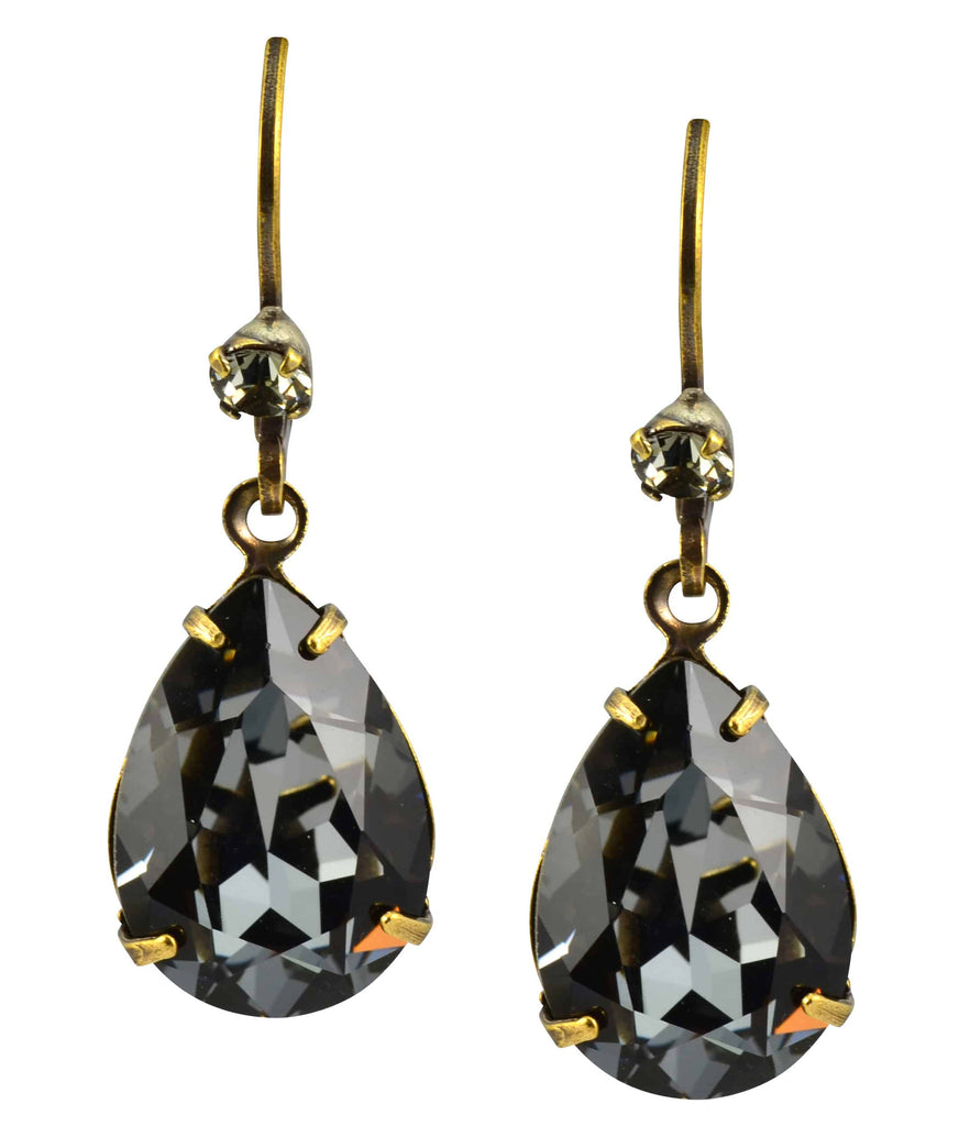 Liz Palacios Gold Plated Teardrop Earrings in Shimmer Grey and Silver Night Swarovski Elements Crystal