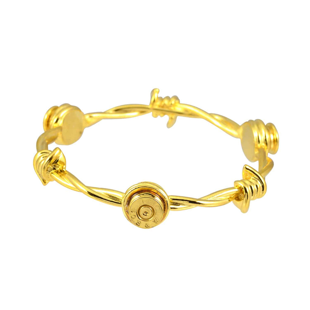 Lizzy Js Barbed Wire Bullet Shell Cuff Bracelet, Gold Plated Round