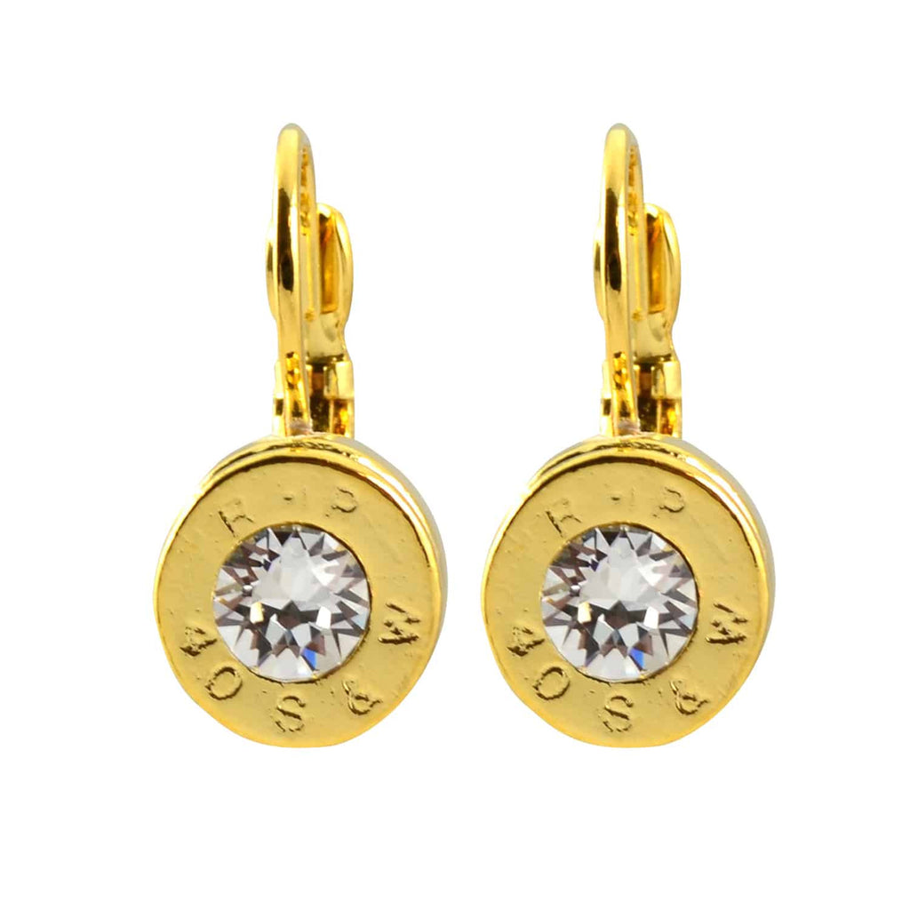 Lizzy Js Bullet Shell Drop Earrings with Clear Swarovski Crystal, French Wire Gold Plated
