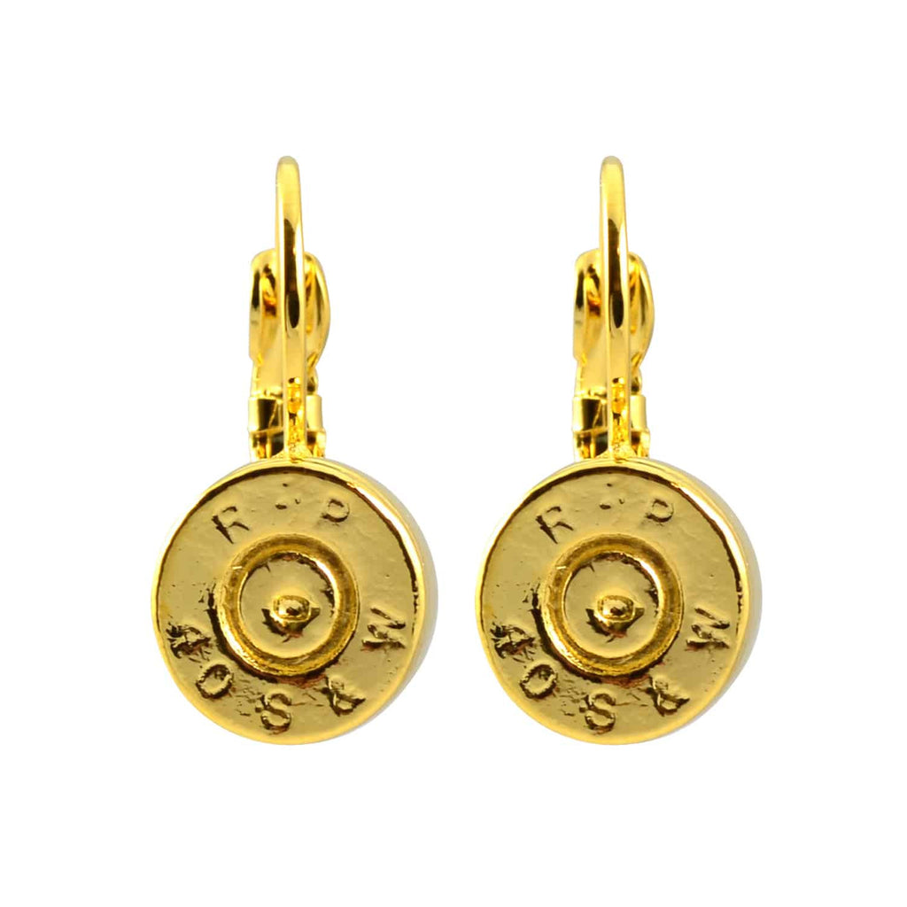 Lizzy Js Bullet Shell Drop Earrings, French Wire Gold Plated