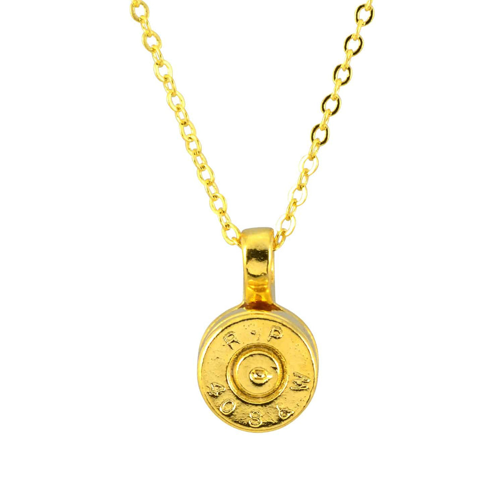 Lizzy js bullet shell pendant necklace gold plated round en reverie lizzy js bullet shell pendant necklace gold plated round mozeypictures