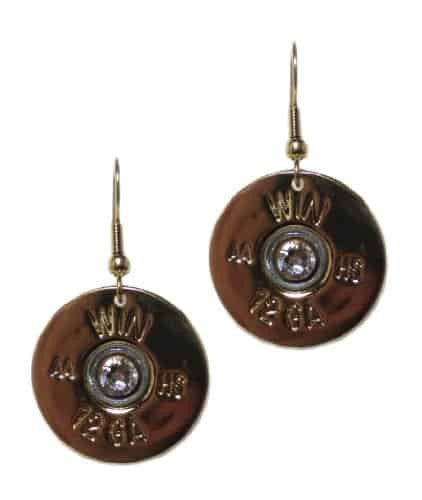 Lizzy Js Gold Plated 12 Gauge Shotgun Bullet Shell Dangle Earrings with Clear Swarovski Crystal