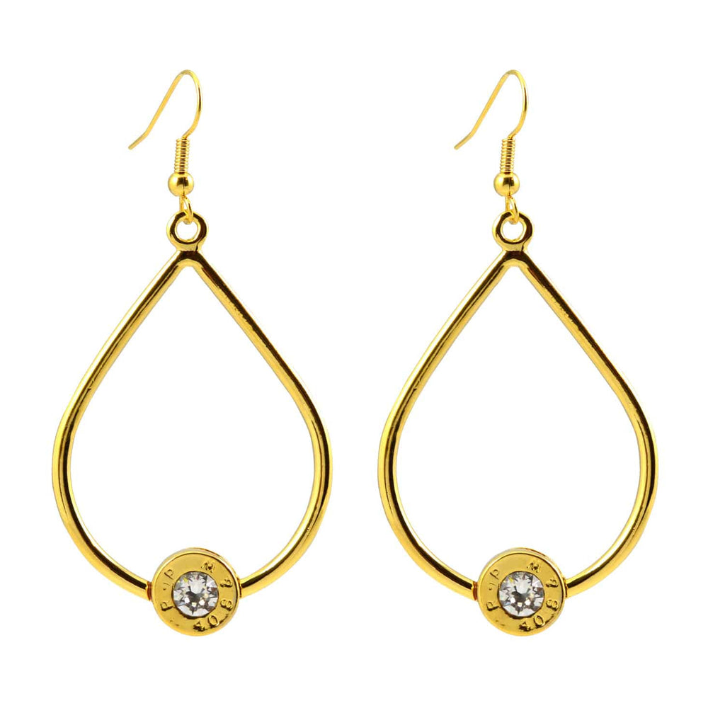 Lizzy Js Gold Plated Bullet Shell Teardrop Dangle Earrings with Swarovski Crystal