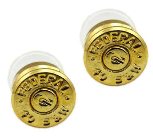 Lizzy Js Handcrafted Designer Gold Plated Bullet Shell Stud Earrings