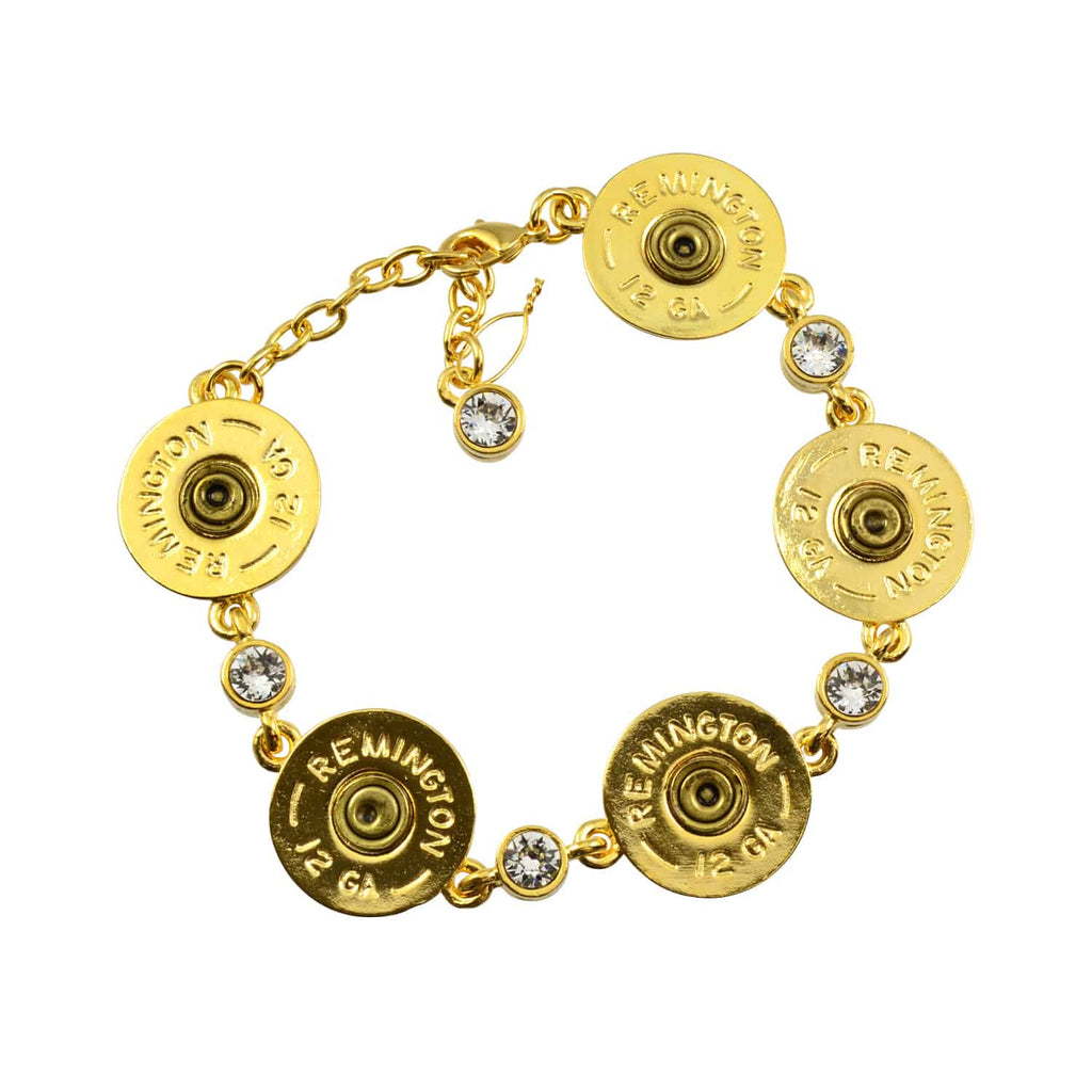 Lizzy Js Shotgun Shell Link Bracelet With Swarovski Crystals, Gold Plated Round