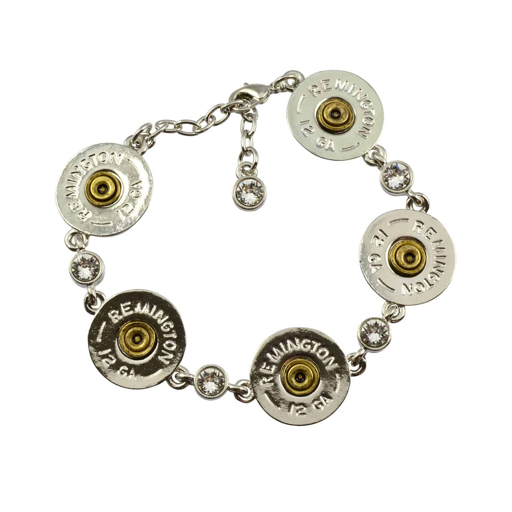 Lizzy Js Shotgun Shell Link Bracelet With Swarovski Crystals, Silver Plated Round