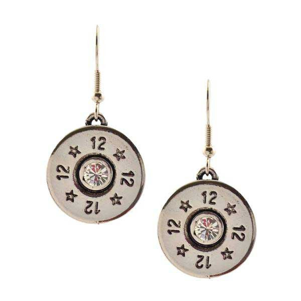 Lizzy Js Silver Plated 12 Gauge Bullet Shell Dangle Earrings with Swarovski Crystal