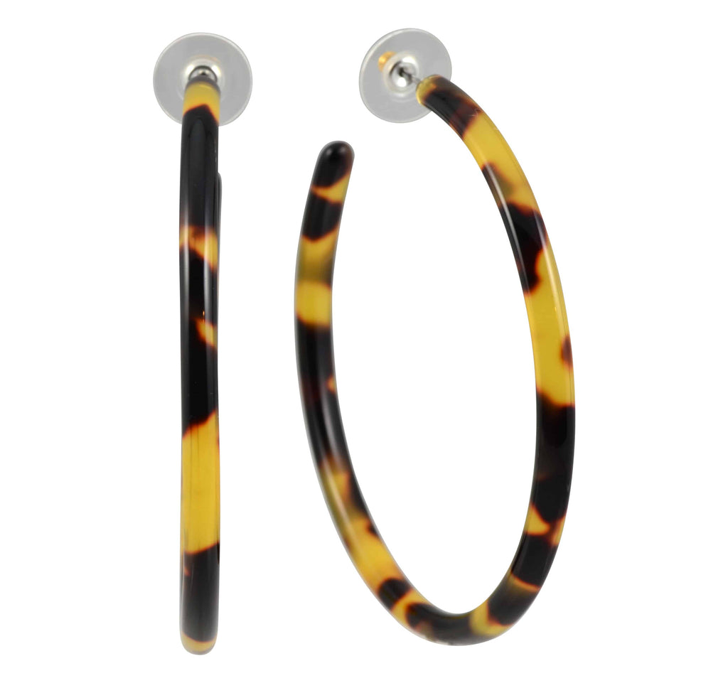 Lorren Bell Tokyo False Tortoise Shell Extra Large 70mm Hoop Earrings