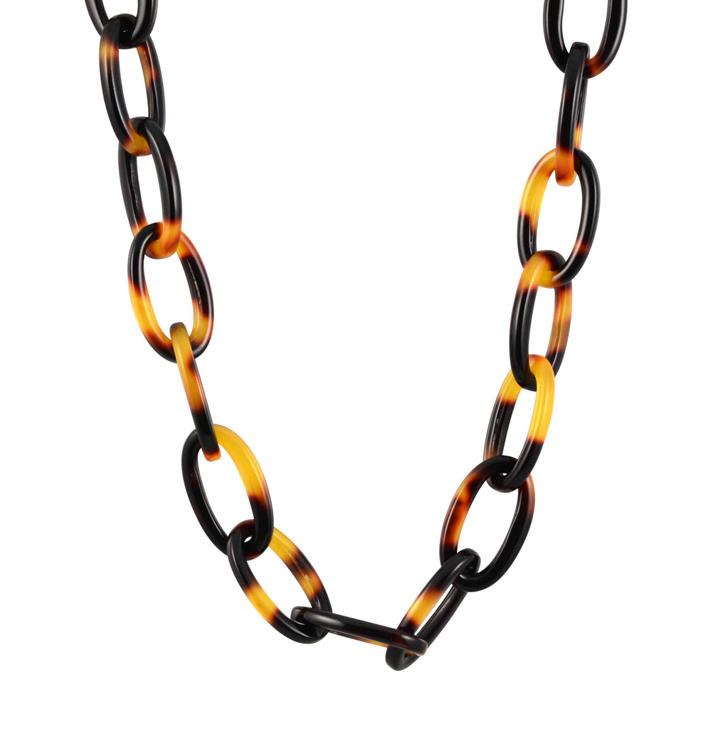Lorren Bell Tokyo False Tortoise Shell Small Chain Link Necklace, Antique Goldtone, 17
