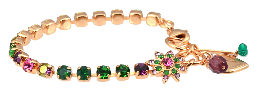 Luck Rose Gold Plated Swarovski Crystal Tennis Bracelet with Flower and Heart, 8