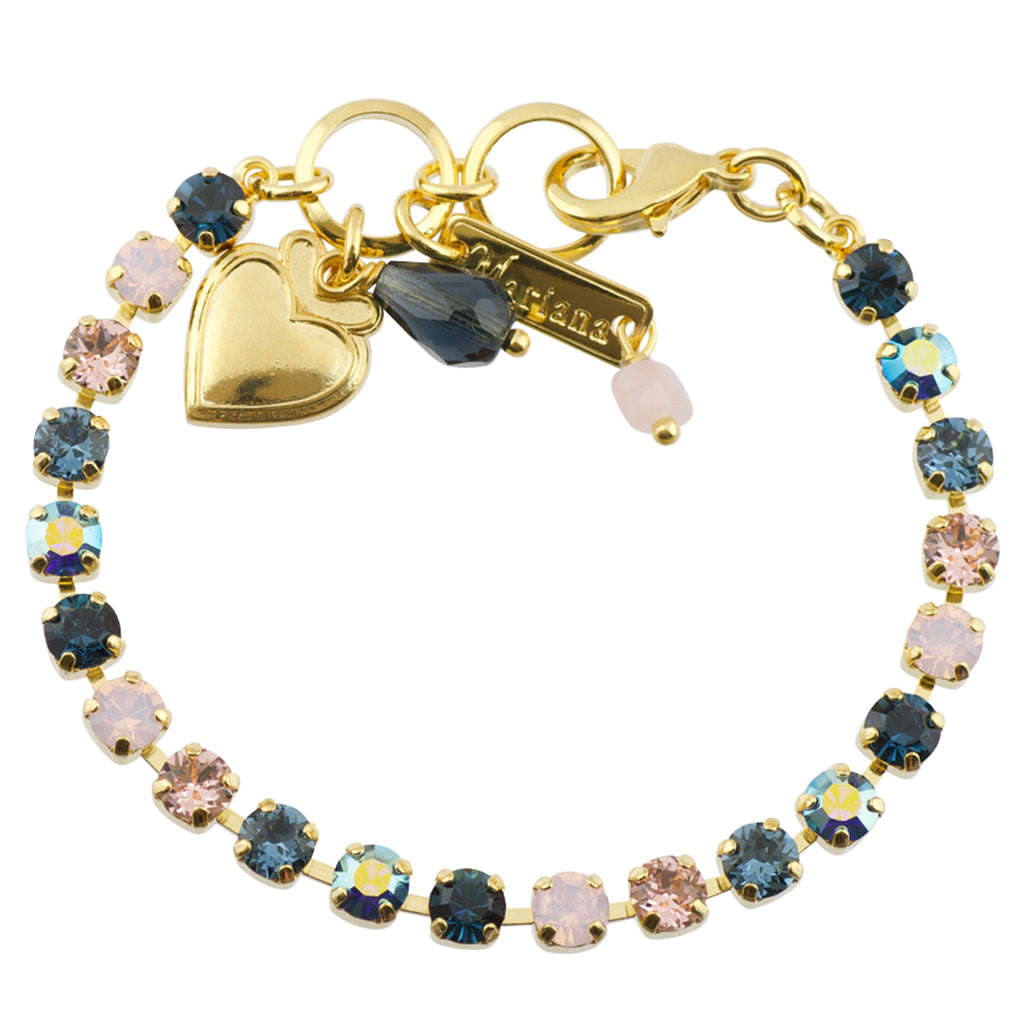 Mariana Blue Morpho Gold Plated Tennis Bracelet, 8""