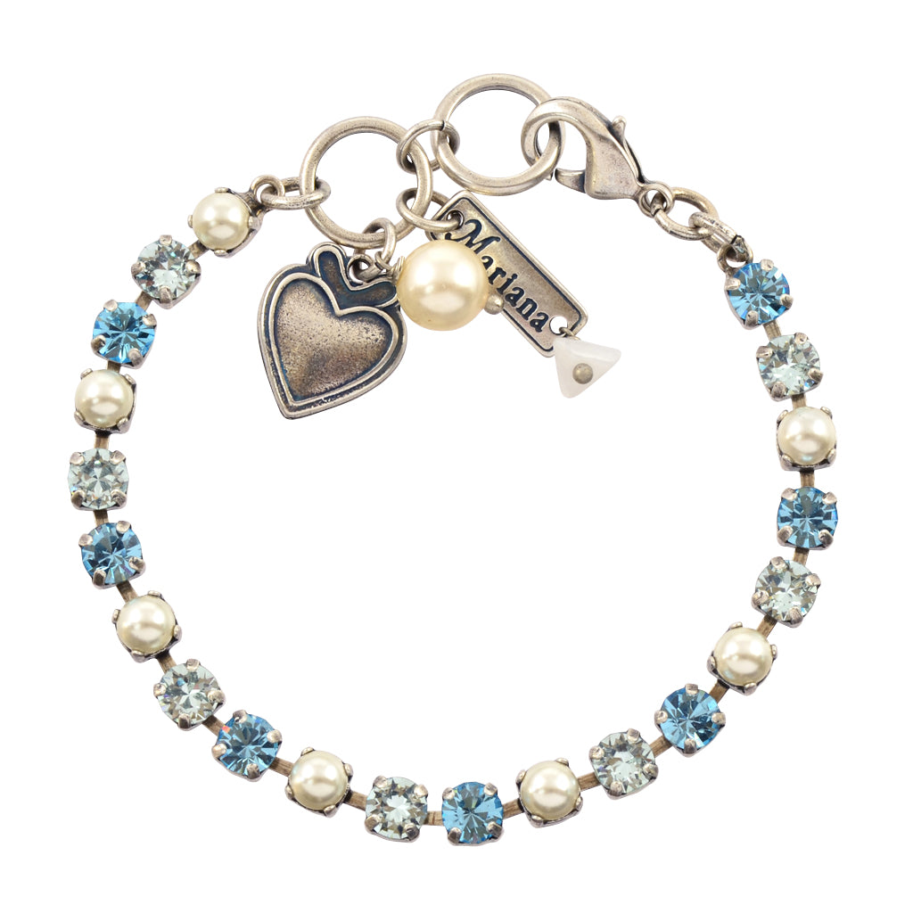 "Mariana Jewelry Blue Crystal Tennis Bracelet with Heart Pendant, Silver Plated 8"" 4000 202361"