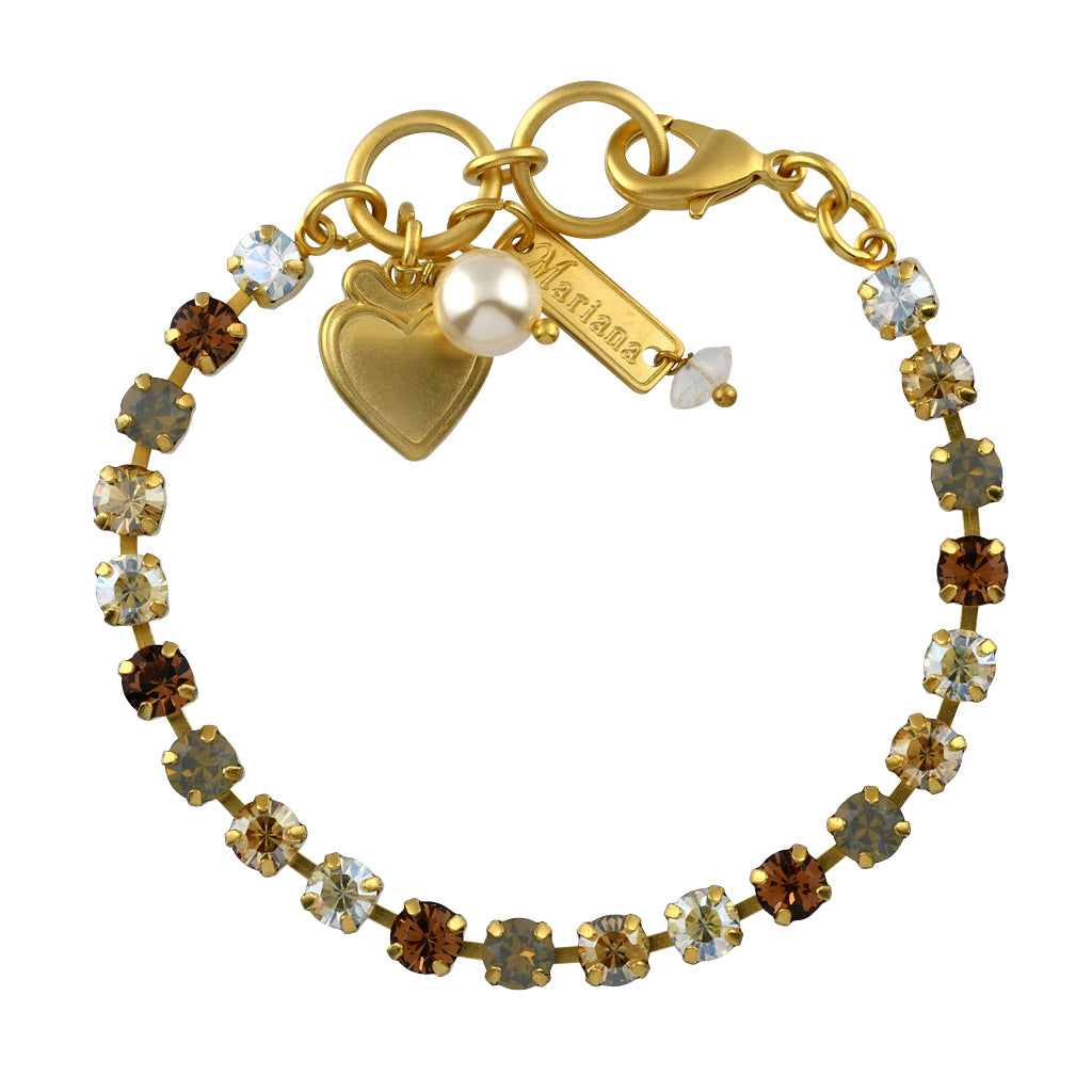 Mariana Jewelry Champagne and Caviar Bracelet, Gold Plated with Swarovski Crystal, Nature Collection MAR-B-4000 3911 YG
