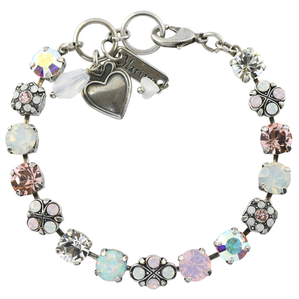 Mariana Jewelry Snowflake Silver Plated Crystal Tennis Bracelet with Flower and Heart, 8""