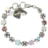 Mariana Jewelry Snowflake Silver Plated Crystal Tennis Bracelet with Flower and Heart, 8