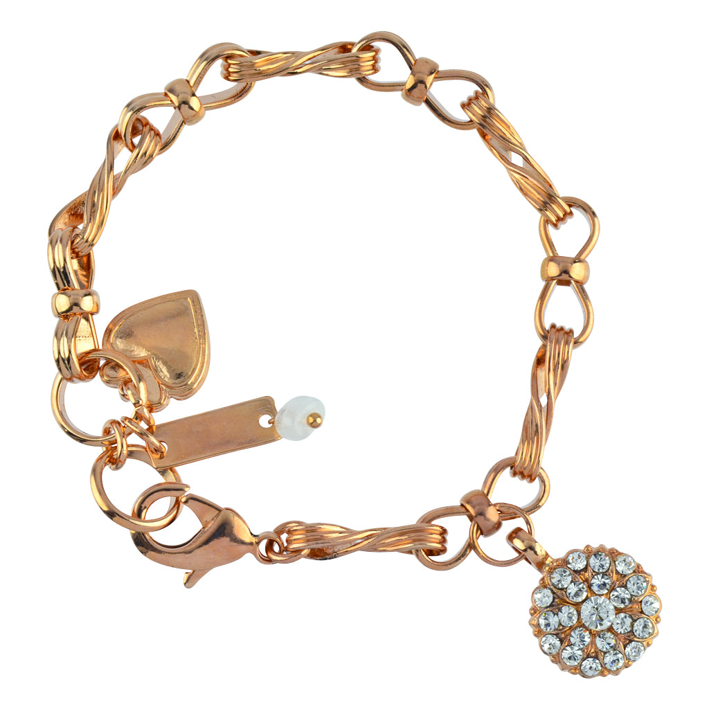 "Mariana Jewelry ""On A Clear Day"" Guardian Angel Rose Gold Plated Textured Chain Tennis Bracelet"