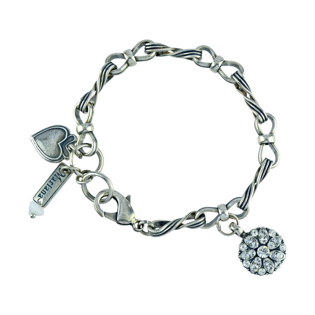 "Mariana Jewelry ""On A Clear Day"" Guardian Angel Silver Plated Textured Chain Tennis Bracelet"