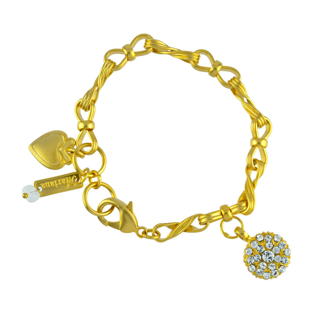 "Mariana Jewelry ""On A Clear Day"" Guardian Angel Gold Plated Textured Chain Tennis Bracelet"