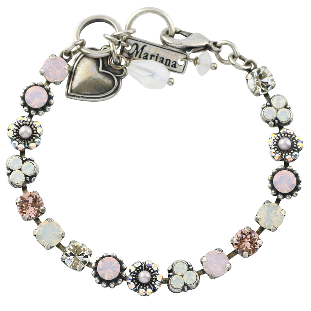 Mariana Jewelry Snowflake Silver Plated Crystal Flower Tennis Bracelet with Heart Pendant