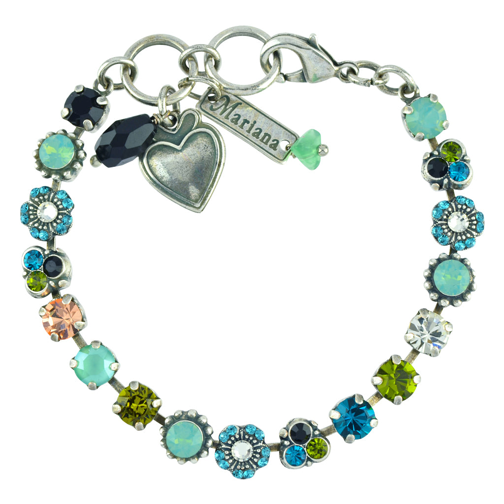 "Mariana Jewelry ""Cannoli"" Silver Plated Crystal Flower Tennis Bracelet with Heart Pendant"