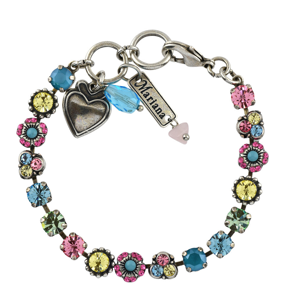 Mariana Jewelry Spring Flowers Bracelet, Silver Plated with Swarovski Crystal, Nature Collection MAR-B-4028 2141 SP