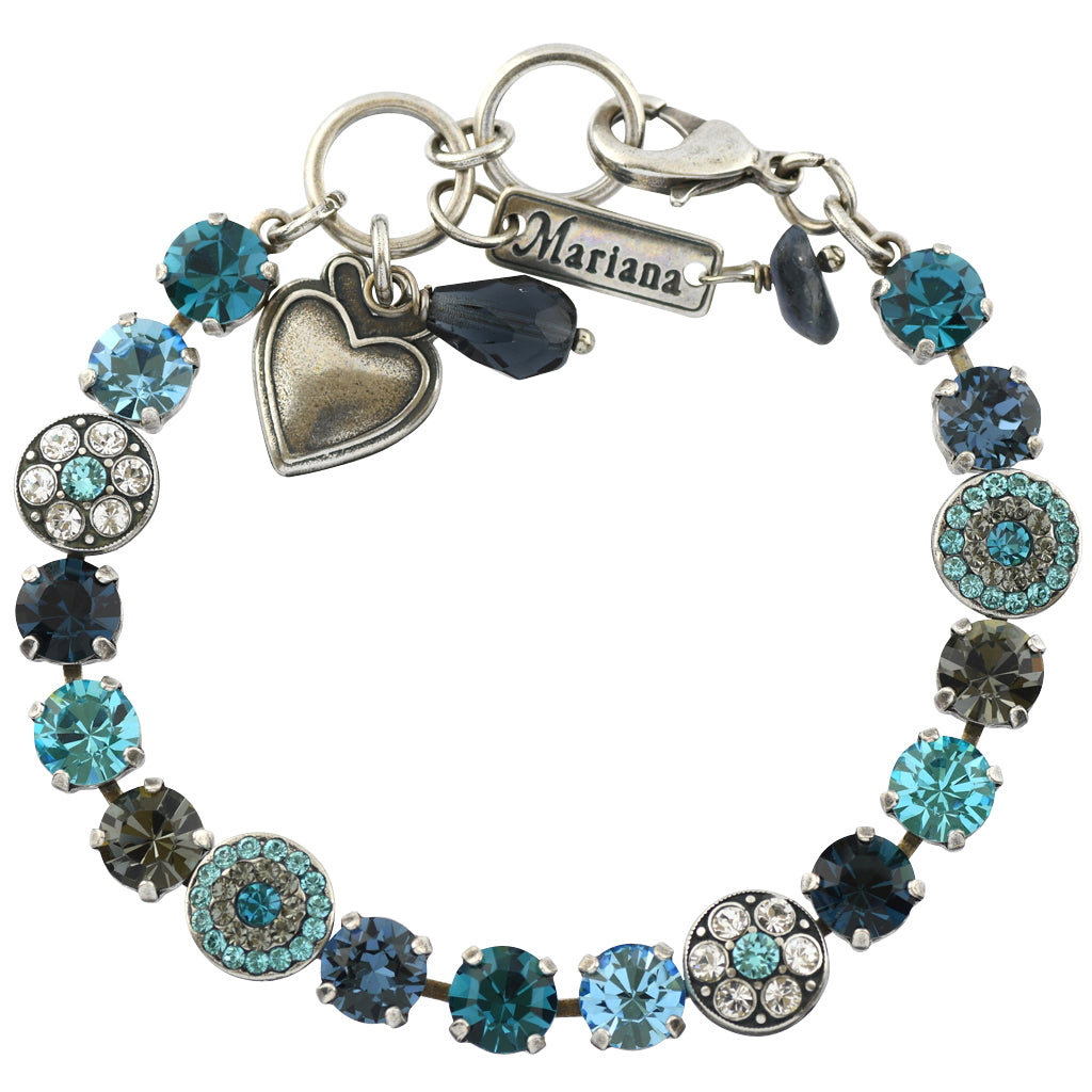 Mariana Jewelry Frost Silver Plated Crystal Round Jewel Tennis Bracelet with Heart Pendant, 8""