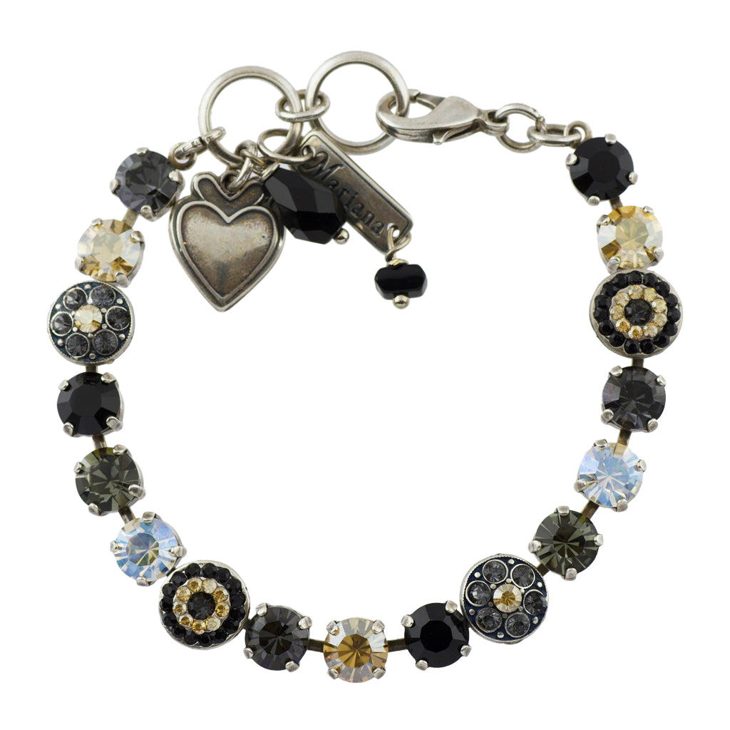"Mariana ""Black Orchid"" Silver Plated Crystal Round Jewel Tennis Bracelet with Heart Pendant, 8"""
