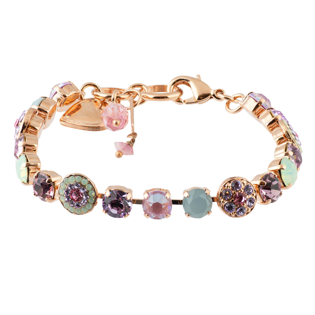 "Mariana ""Lavender"" Rose Gold Plated Crystal Round Jewel Tennis Bracelet with Heart Pendant, 8"""