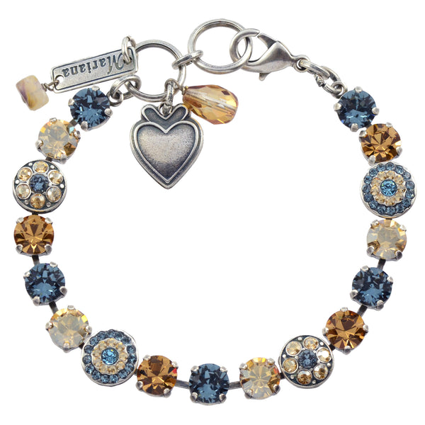 "Mariana ""Moondrops"" Round Jewel Tennis Bracelet, Silver Plated with Fawn Crystal, 8"" 4044 216-3"