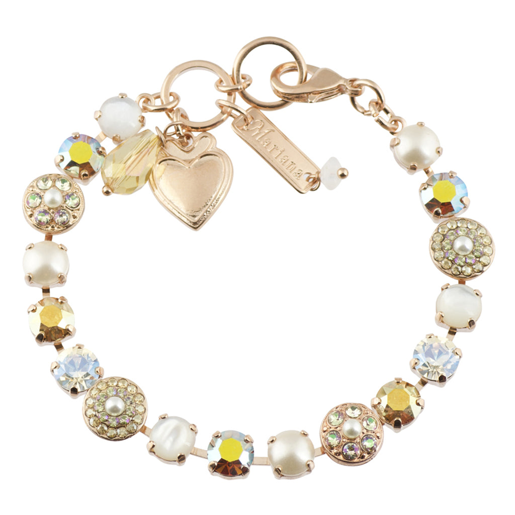 Mariana Aurora Round Jewel Tennis Bracelet, Rose Gold Plated with Moonlight Crystal, 8""
