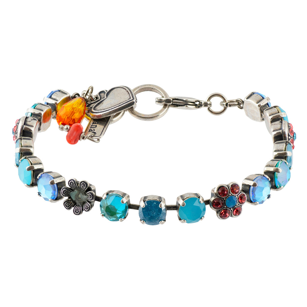 "Mariana ""Bird of Paradise"" Silver Plated Crystal Round Jewel Tennis Bracelet with Heart Pendant, 8"""