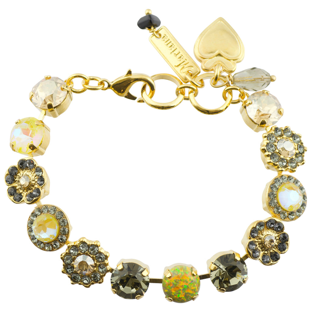 "Mariana ""Painted Lady"" Gold Plated Star Flower Crystal Tennis Bracelet"