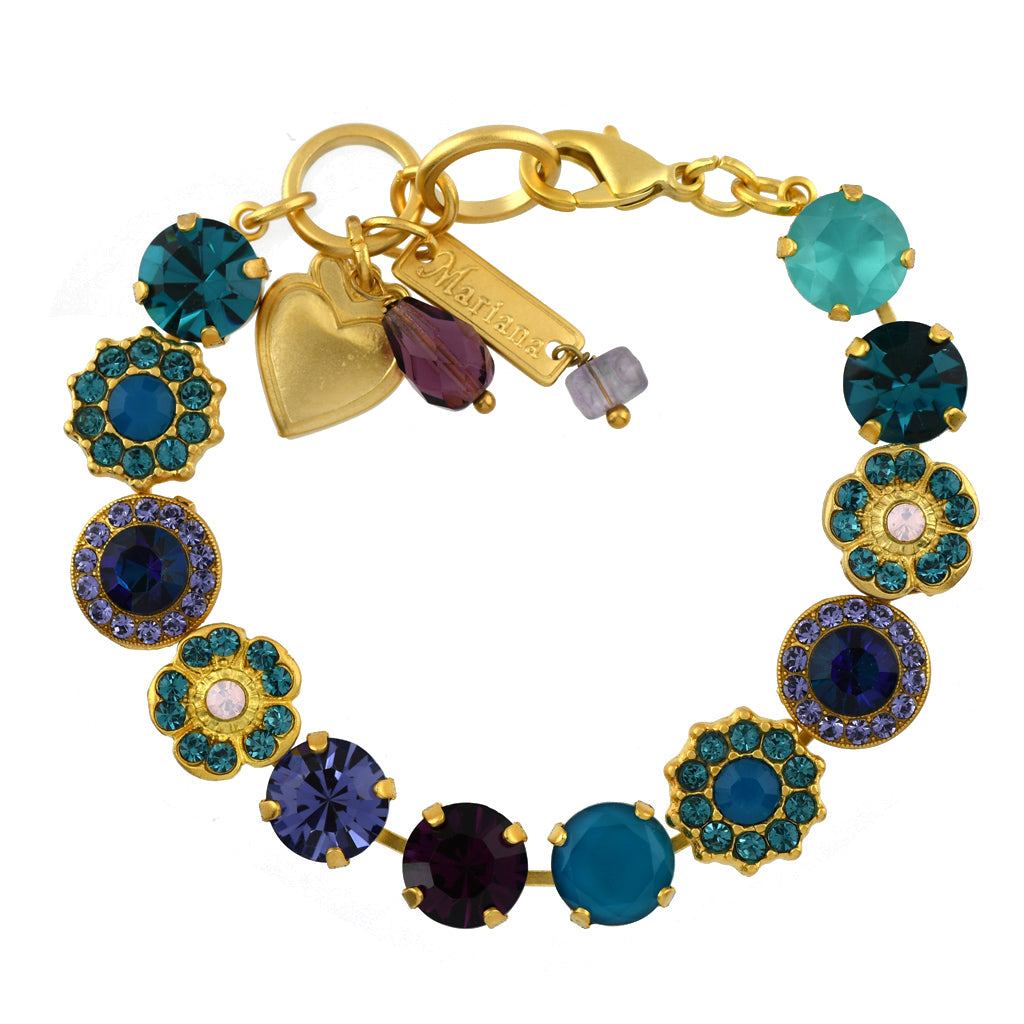 Mariana Jewelry Peacock Bracelet, Gold Plated with Swarovski Crystal, Nature Collection MAR-B-4045_1 2139 YG