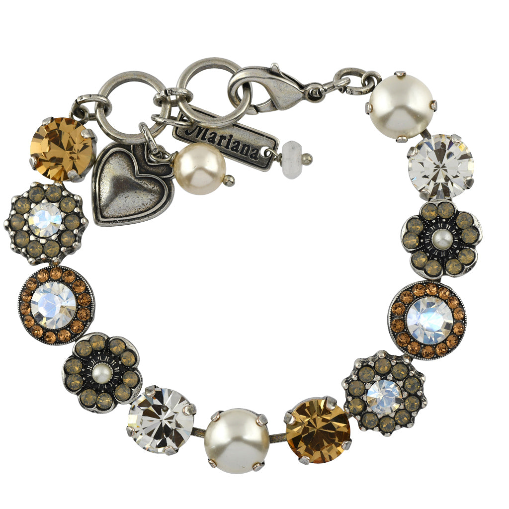Mariana Jewelry Champagne and Caviar Bracelet, Silver Plated with Swarovski Crystal, Nature Collection MAR-B-4045_1 3911 SP