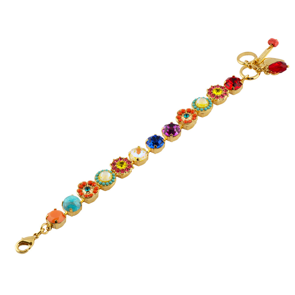 "Mariana ""Poppy"" Gold Plated Crystal Round Jewel Tennis Bracelet with Heart Pendant, 8"""