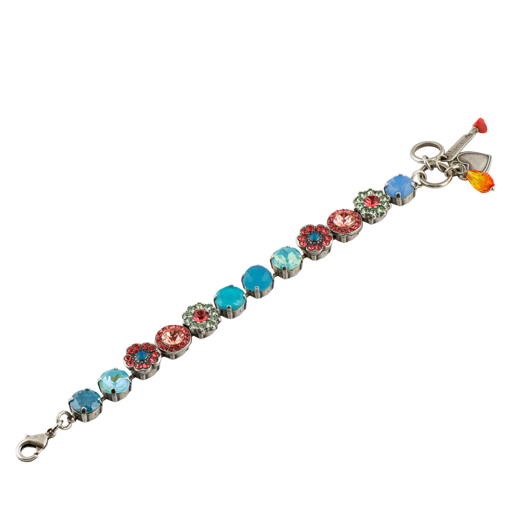 "Mariana ""Bird of Paradise"" Tennis Bracelet, Silver Plated, 8"" 4045/1"