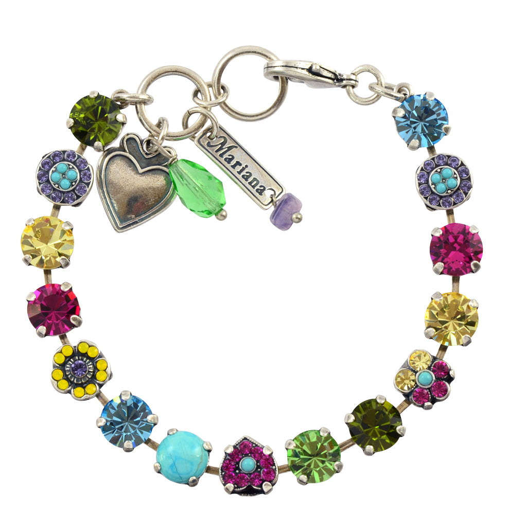 "Mariana Jewelry ""Cuba"" Silver Plated Heart and Flower Bracelet"