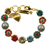 Mariana Jewelry Tinsel Gold Plated Flower Crystal Tennis Bracelet , 8