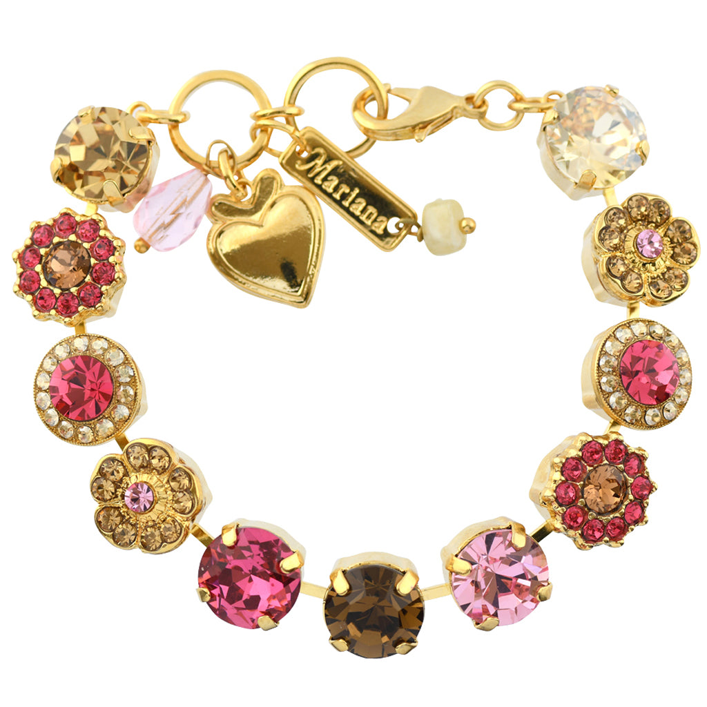 "Mariana Jewelry ""Gingerbread"" Gold Plated Crystal Large Gem Tennis Bracelet, 8"""