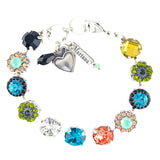 Mariana Jewelry Cannoli Flower Design Tennis Bracelet, Silver Plated, 8