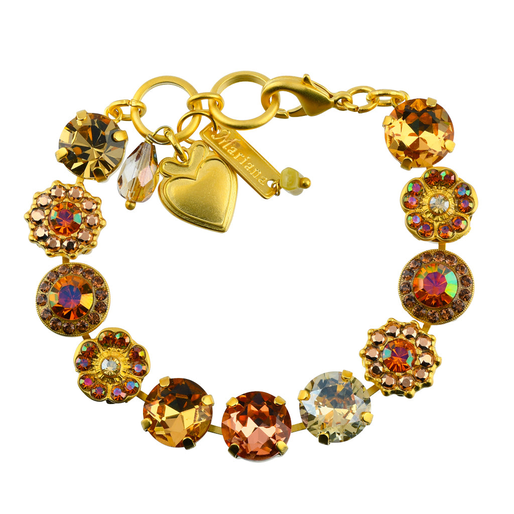 "Mariana ""Caramel"" Gold Plated Crystal Large Gem Tennis Bracelet with Heart, 8"""