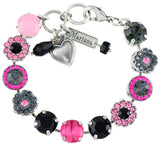 Mariana Peppermint Flower Design Tennis Bracelet, Silver Plated, 8
