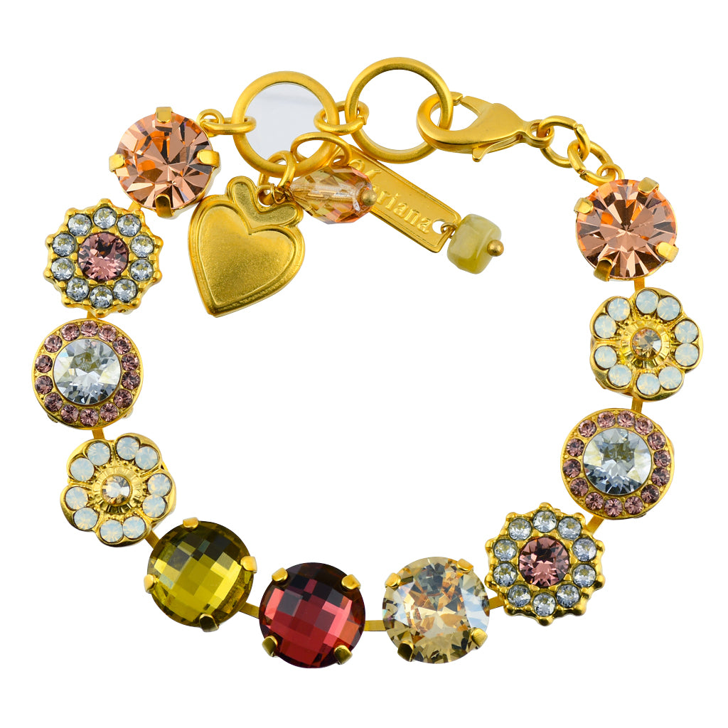 Mariana Jewelry Creme Brulee Gold Plated Flower Crystal Tennis Bracelet, 8""