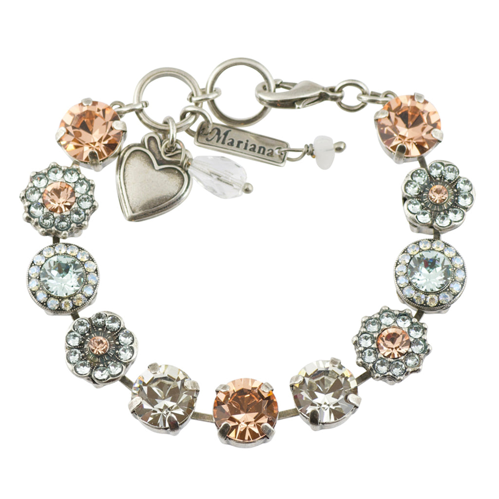 "Mariana ""Moon Dance"" Silver Plated Flower Crystal Tennis Bracelet , 8"""